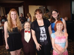 Some friends of mine and me at the Judy Garland Festival, with Jerry Maren (the Lollipop Kid munchkin) and his wife Elizabeth.