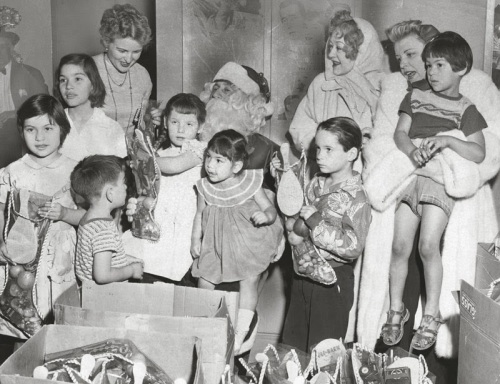 marion davies UCLA Children's Clinic Xmas party 1954 LAPL